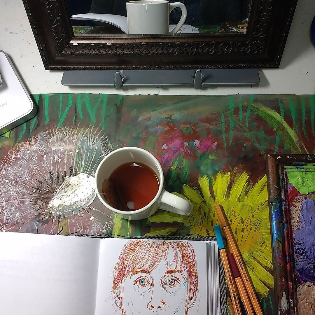 studio and sketchbook peek on filming day, hali karla arts