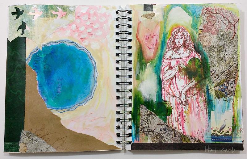 art journal sketchbook collage, Hali Karla