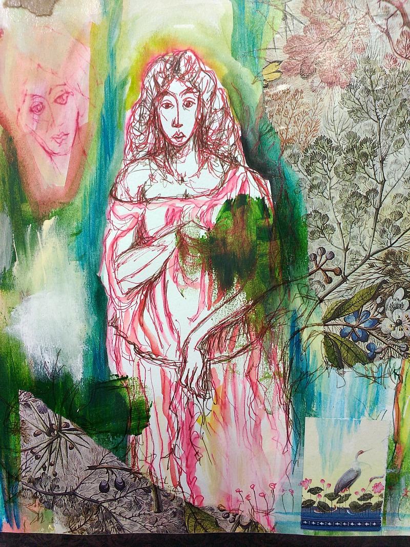 art journal sketchbook collage detail, Hali Karla