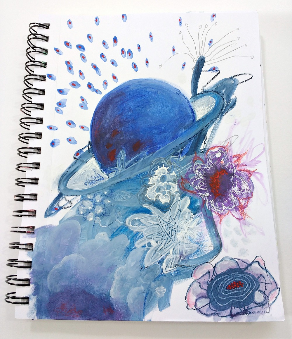 intuitive free-flow mixed-media process in my art journal sketchbook | Hali Karla