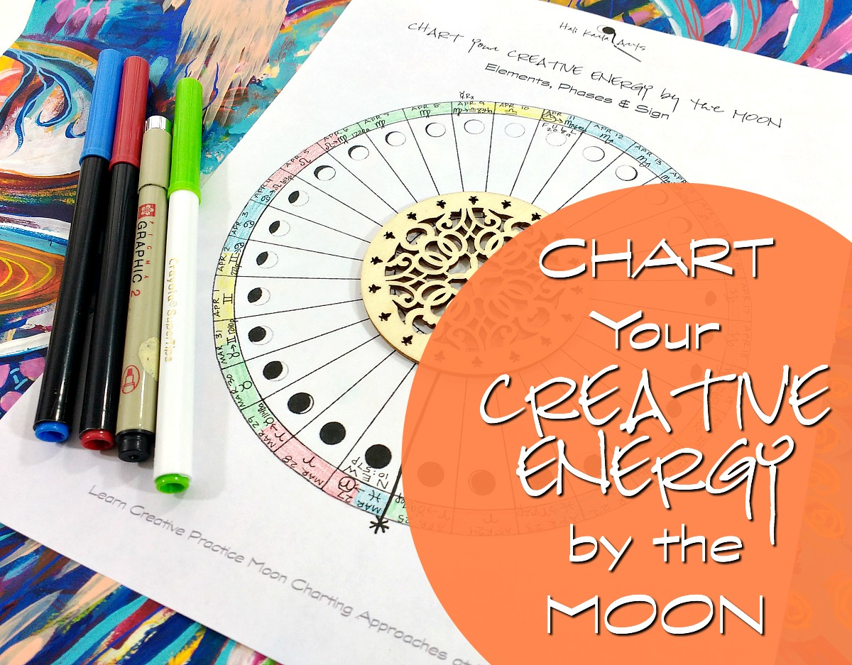 chart your creative energy and rhythms by the moon - free moon wheel chart from Hali Karla Arts