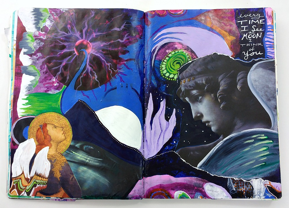 mixed-media art journal collage from In The Stars with Hali Karla Arts