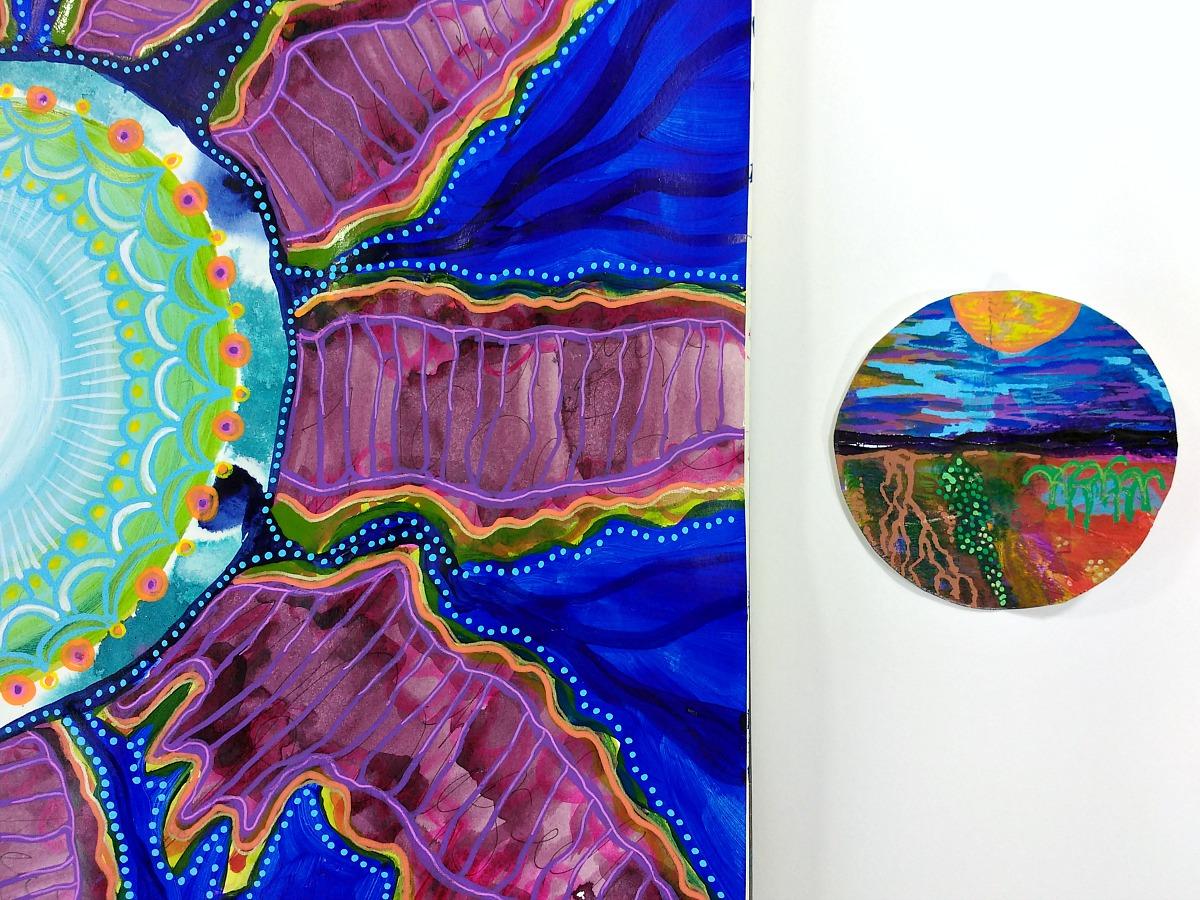 art journaling page peek (Hali Karla) - essential creative energy