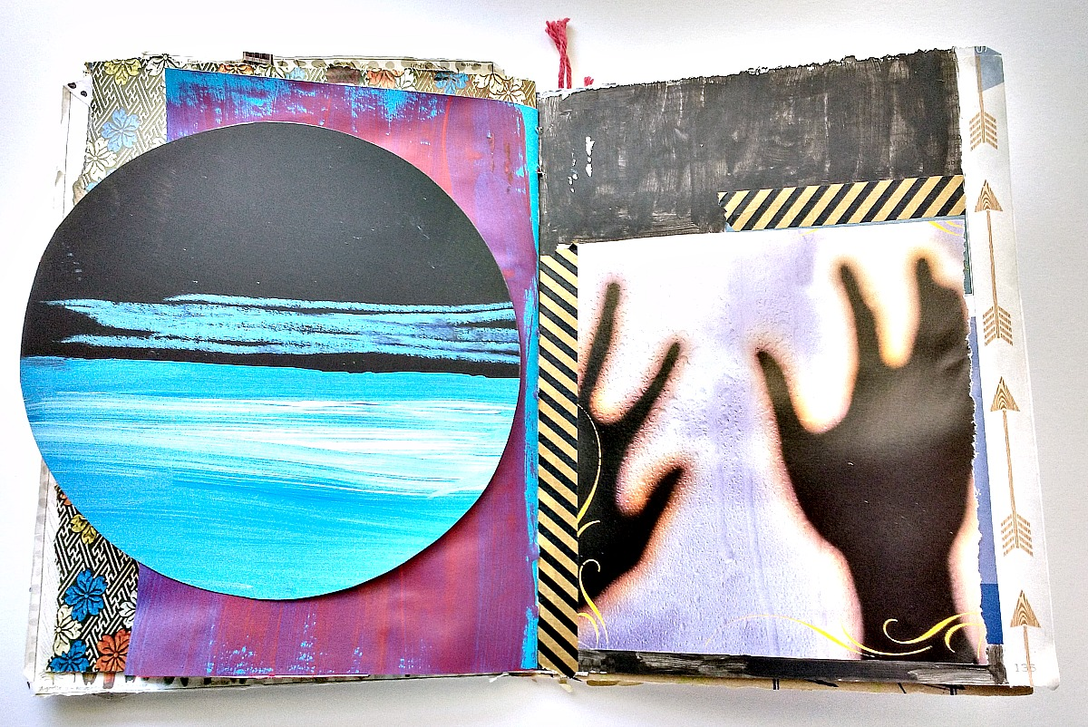 handmade art journal spread, mixed media (Hali Karla Arts)