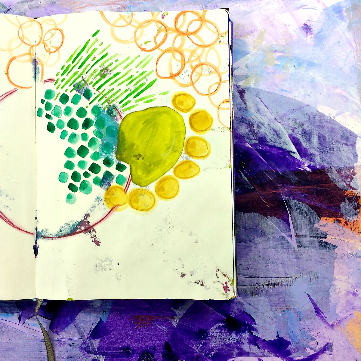 sketchy paint pages in-progress art journal