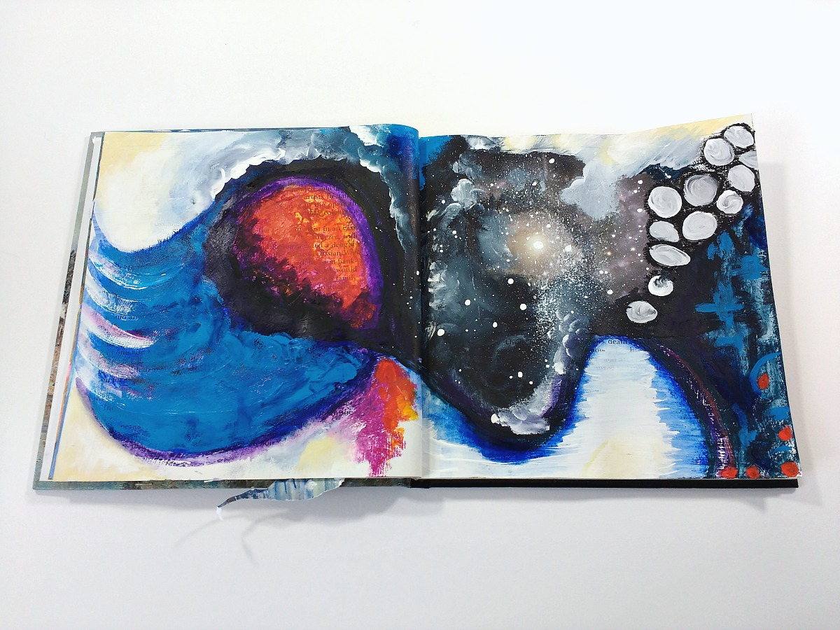 art journal spread, altered book, mixed-media, Hali Karla