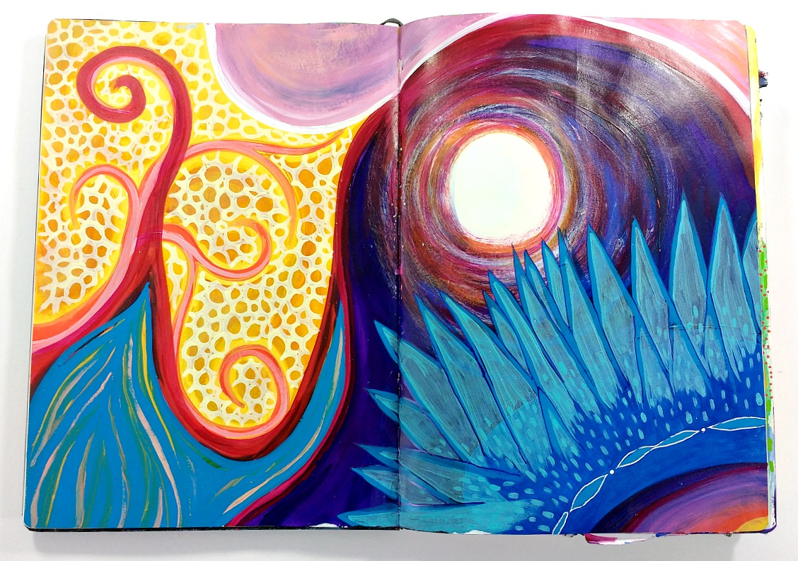 mixed-media intuitive art journal spread in extra large moleskine (Hali Karla)