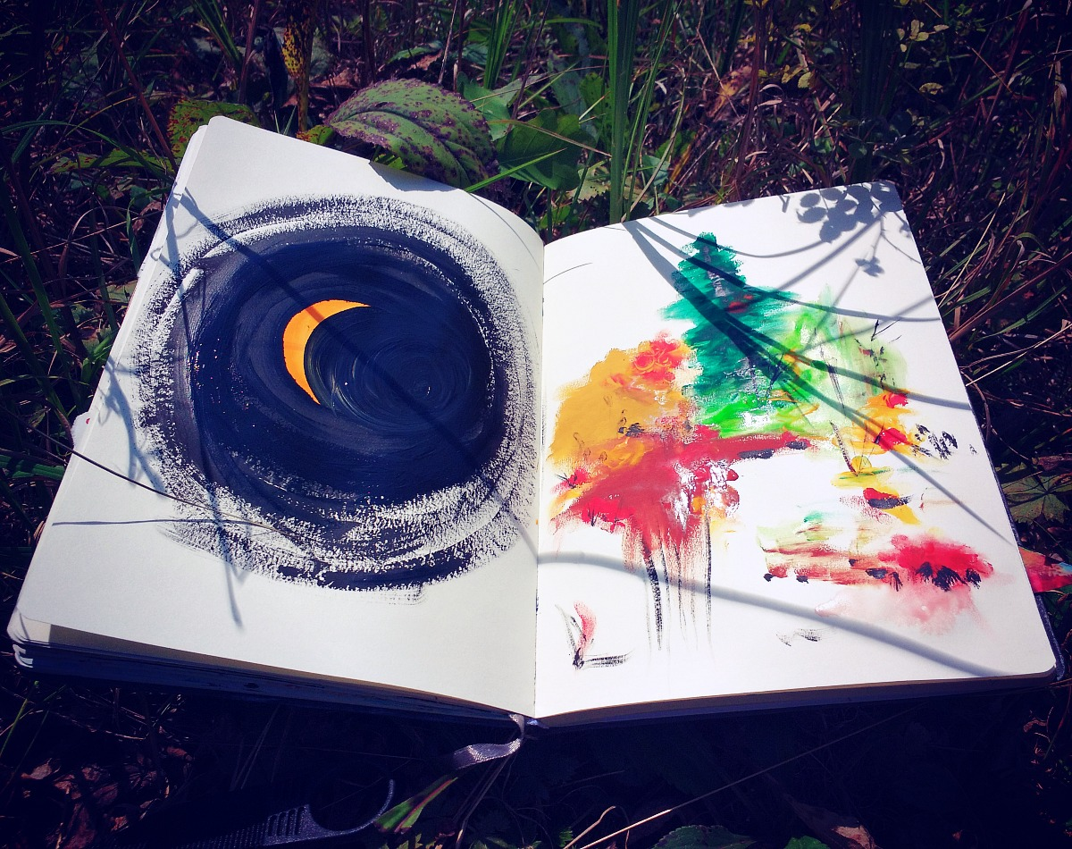 art journal during the 2017 Solar Eclipse in the states in Asheville, NC - by Hali Karla