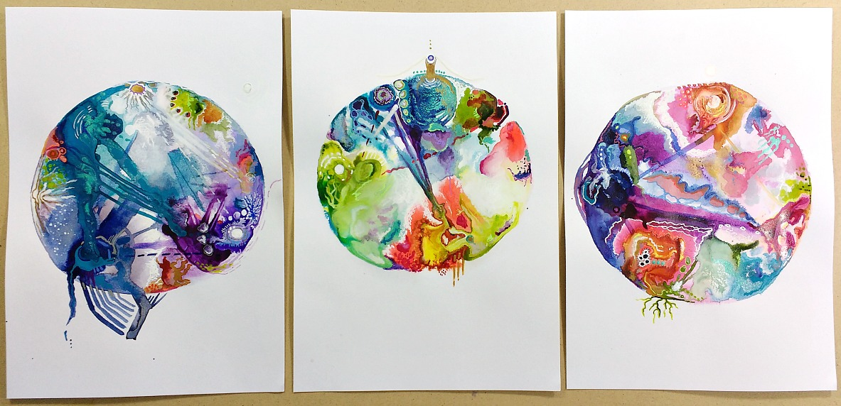 a family set of intuitive birth chart mandalas by Hali Karla (process video at link)