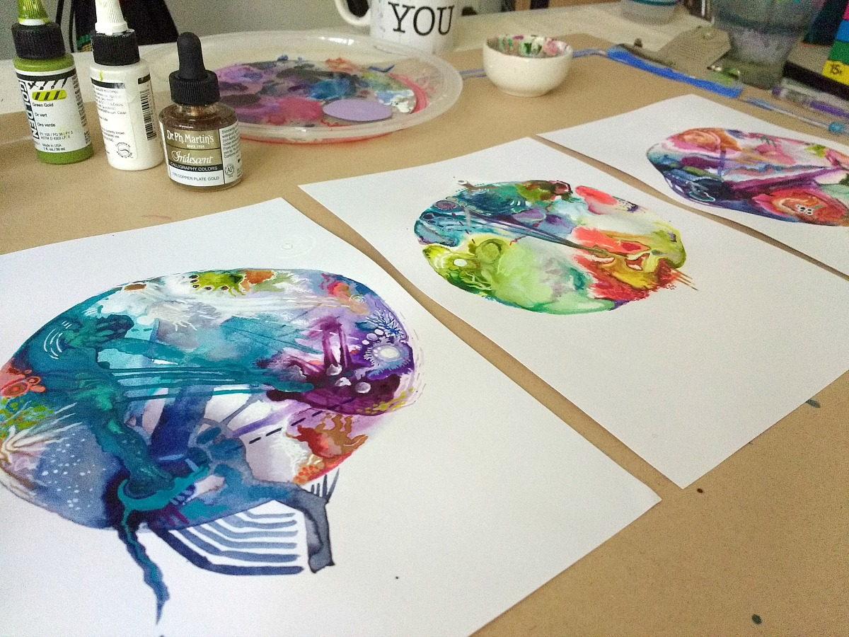 intuitive birth chart mandalas on the studio table - by Hali Karla (process video at link)