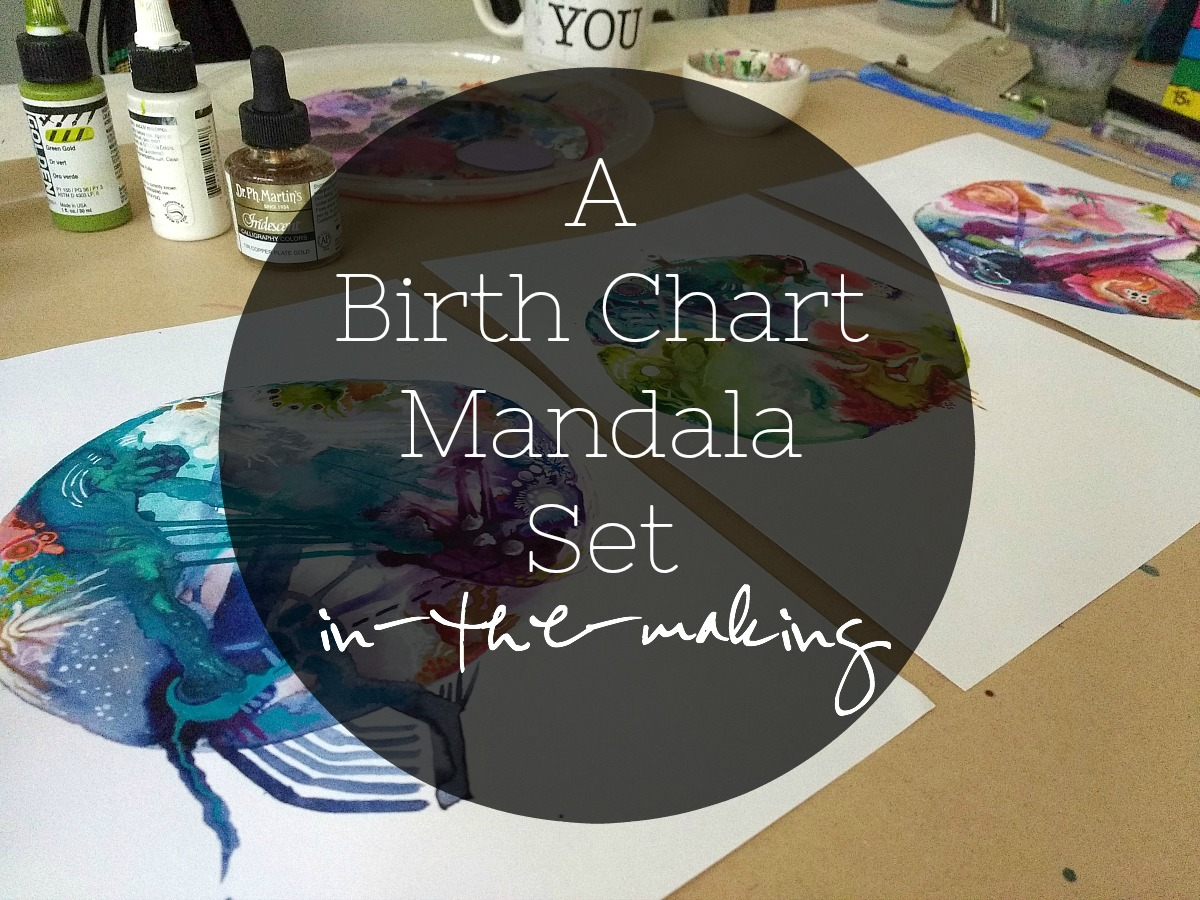 A video, plus images, of a family set of birth chart mandalas