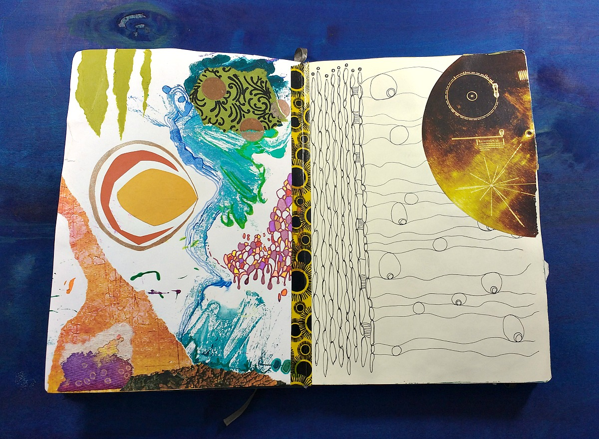 mixed-media 'respite'/random art journal page (Hali Karla)