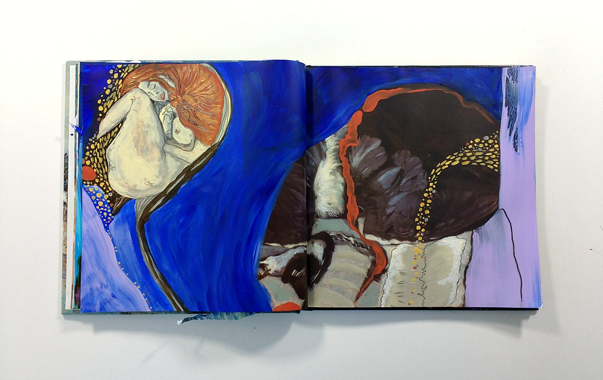 mixed-media altered book art journal spread (inspired by Klimt and Sisley) by Hali Karla