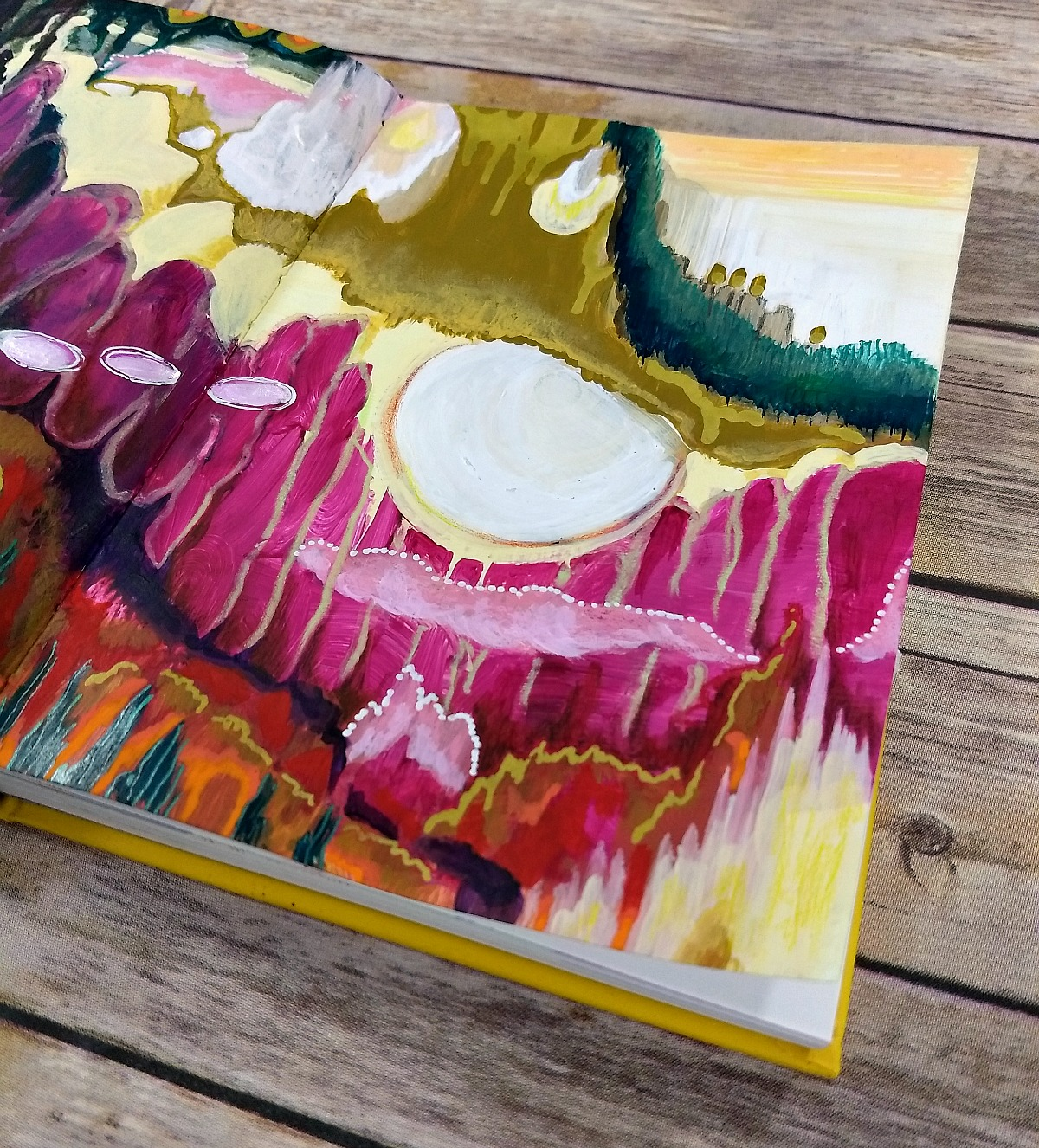 Altered Book Art Journal (detail) - plus a video on finishing the first spread in my new journal - come practice art with me! | Hali Karla Arts