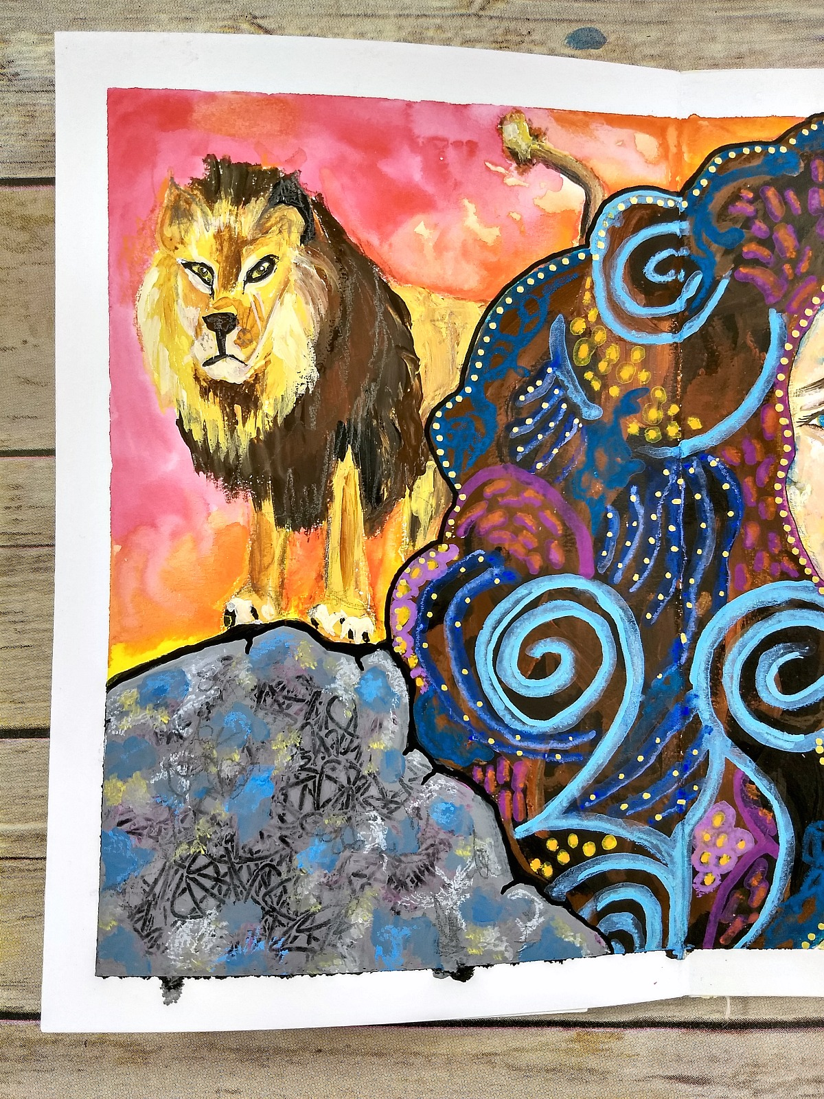 handmade art journal detail, mixed-media zodiac portrait: Leo - with video (Hali Karla Arts)