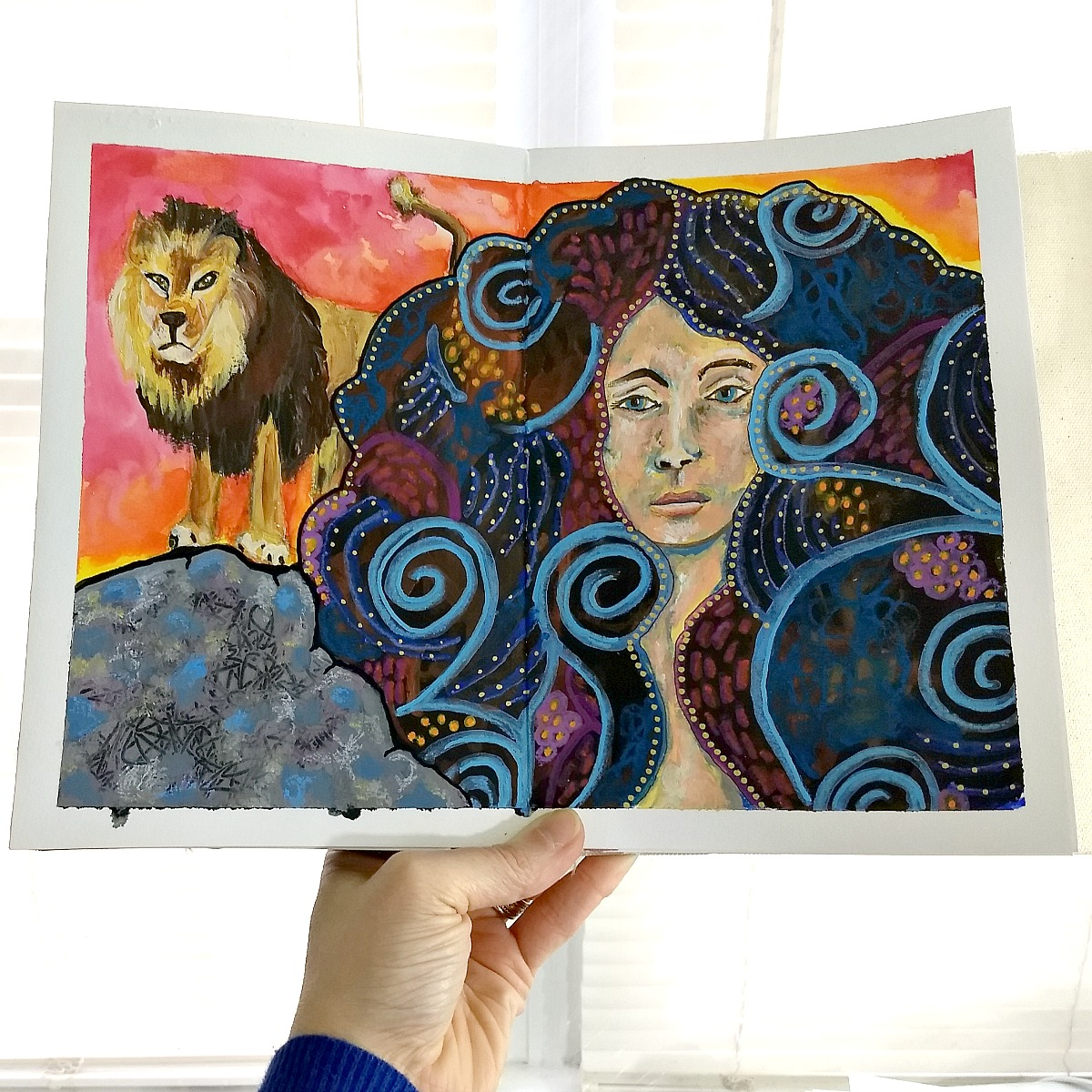 handmade art journal, mixed-media zodiac portrait: Leo - with video (Hali Karla Arts)