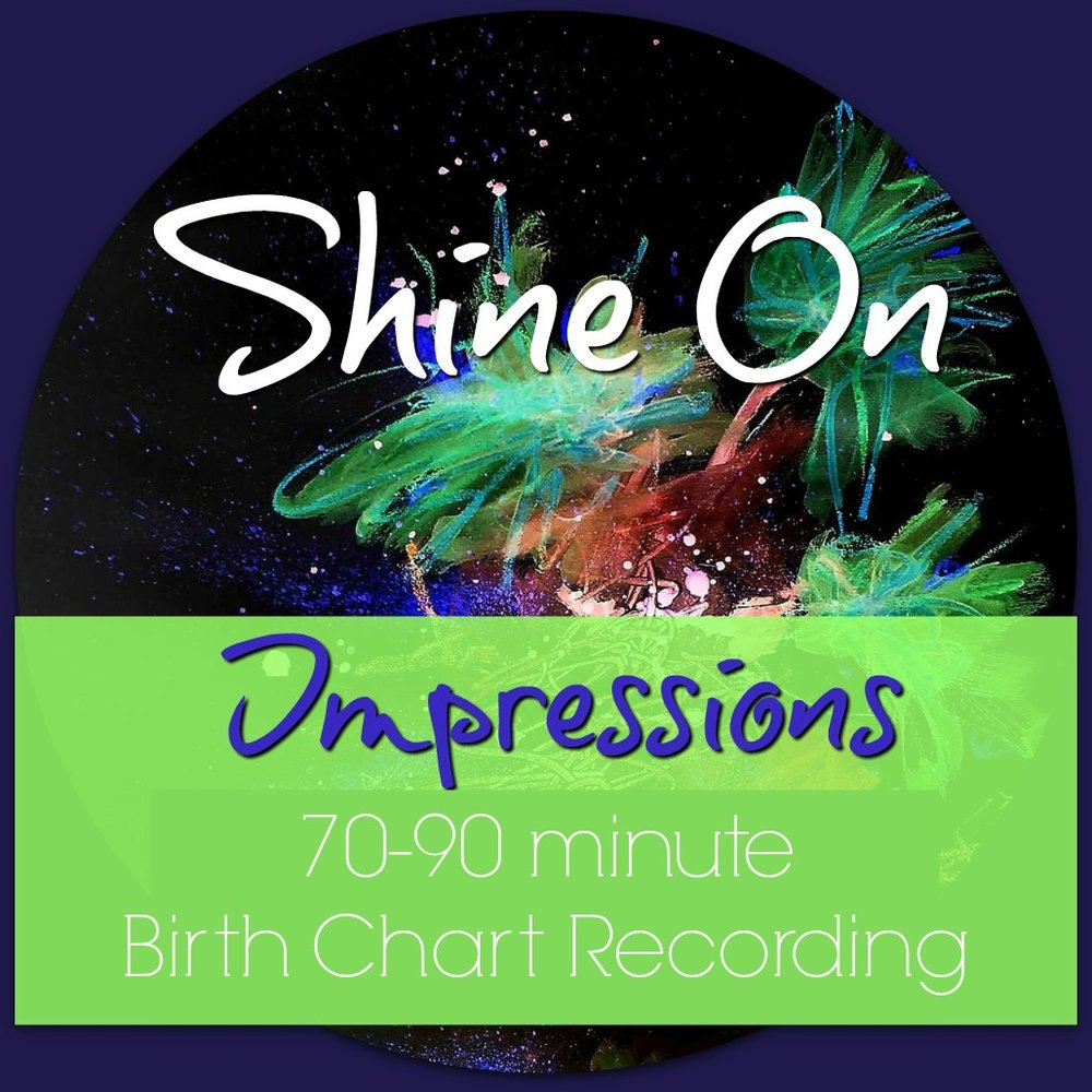 Shine-On Impressions :: - An mp3 recording on your natal chart messages… perfect for the introvert, busy schedule or if we have a significant timezone differenceWithin 60 days of purchase (though usually much sooner), I will send you an mp3 recorded interpretation of your birth chart, including core healing messages and soul-calling territories unique to you.