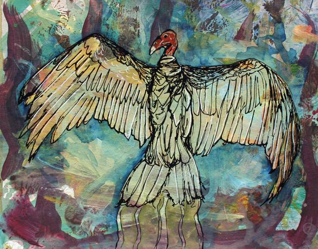 Vulture. mixed-media