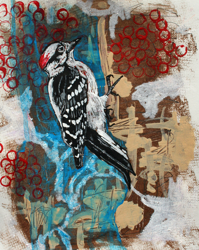 Woodpecker. Mixed-media on paper. SOLD