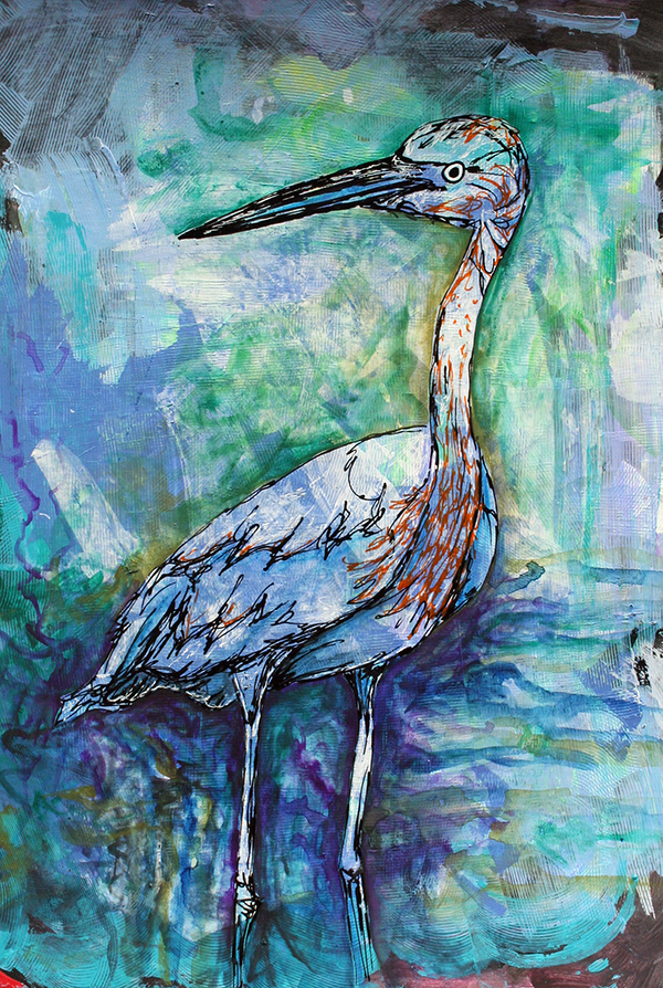 "Heron. Mixed-media on paper. 11"" x 14"""