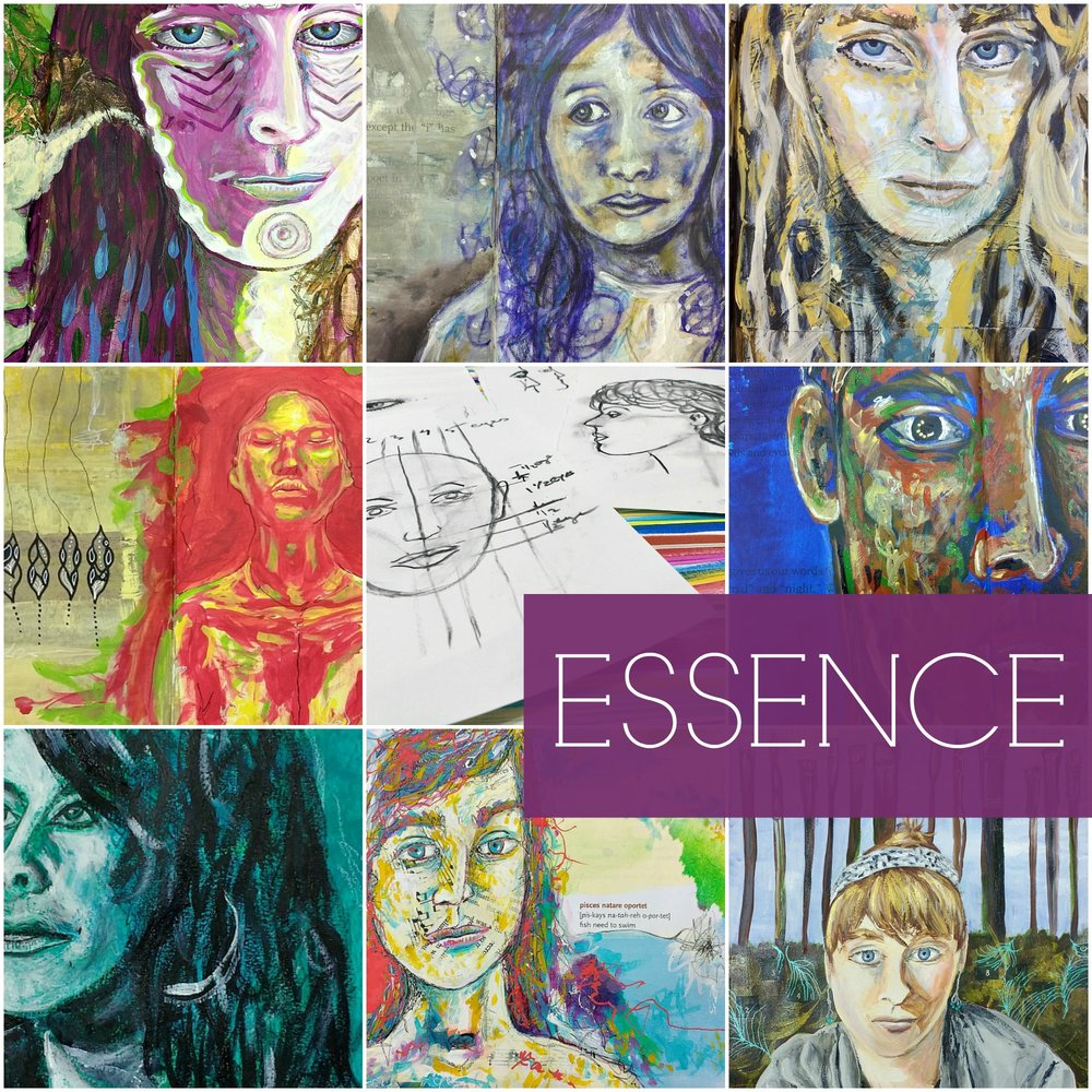 ESSENCE self-guided creative portrait practice ecourse to develop and explore how you see, relate and translate in mixed-media, plus connect with your sense of self (and other)