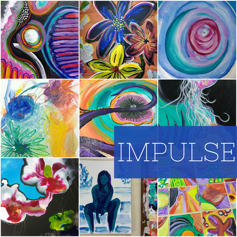IMPULSE self-guided mixed-media Creative Practice ecourse on awakening, trusting and relating to your intuitive, spontaneous artist's style