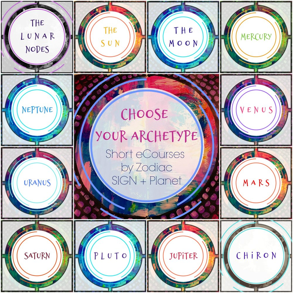 Short Astrology + Creative Practice eCourses based on the archetypes of your Zodiac signs