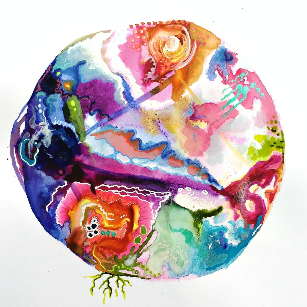 a commissioned intuitive birth chart mandala, mixed-media, Hali Karla