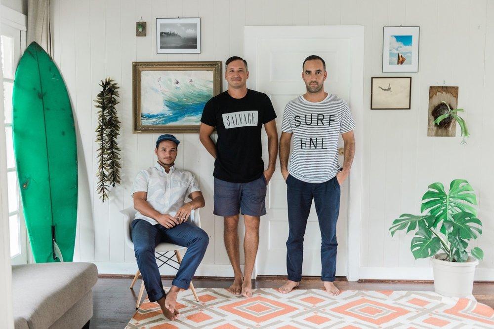 Left to right: Joseph Serrao, Noah Serrao, and Nāpali Souza. (Photo credit: Flux Magazine)
