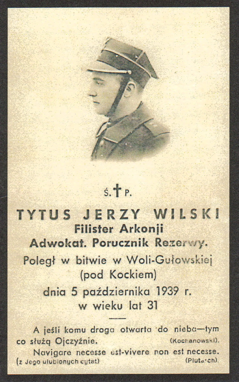 1939 - The untimely demise of Tytus Jerzy Wilski in the Battle of Kock, the last of Wilski Family at the Hall