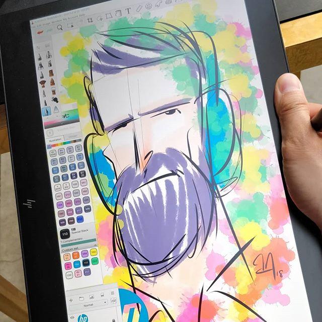 warming up with the @hp zbook x2. We doing colours tonight. with @artofwilkins! @theideahunter . . . . . . . . #caricature #digitalart #livegig #hpzbookx2 #hp #torontoeventplanner #eventplanner #eventscanada #livesketching #instaart #doodles #sketchbook #peoplesketching #art #sketchbookpro #autodesksketchbook @hpcanada