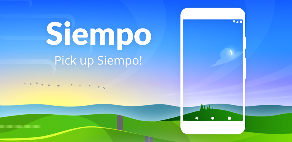"An image of a nature landscape with a smartphone acting as a window covering it. The words, ""Siempo. Pick up Siempo!"" are also visible."