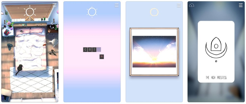 Four screen shots of TRU LUV's #SelfCare App.