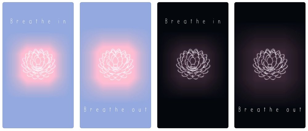 """Four screen shots of TRU LUV's app. The screens say """"Breathe in. Breath out,"""" and show a glowing lotus flower."""