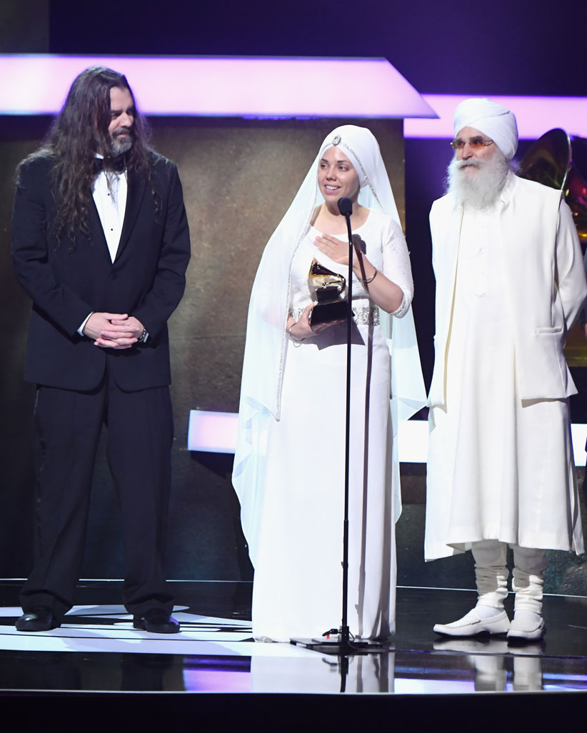 White Sun Accepting the 2017 New Age Album Grammy Award. Photo by Jeff Kravitz