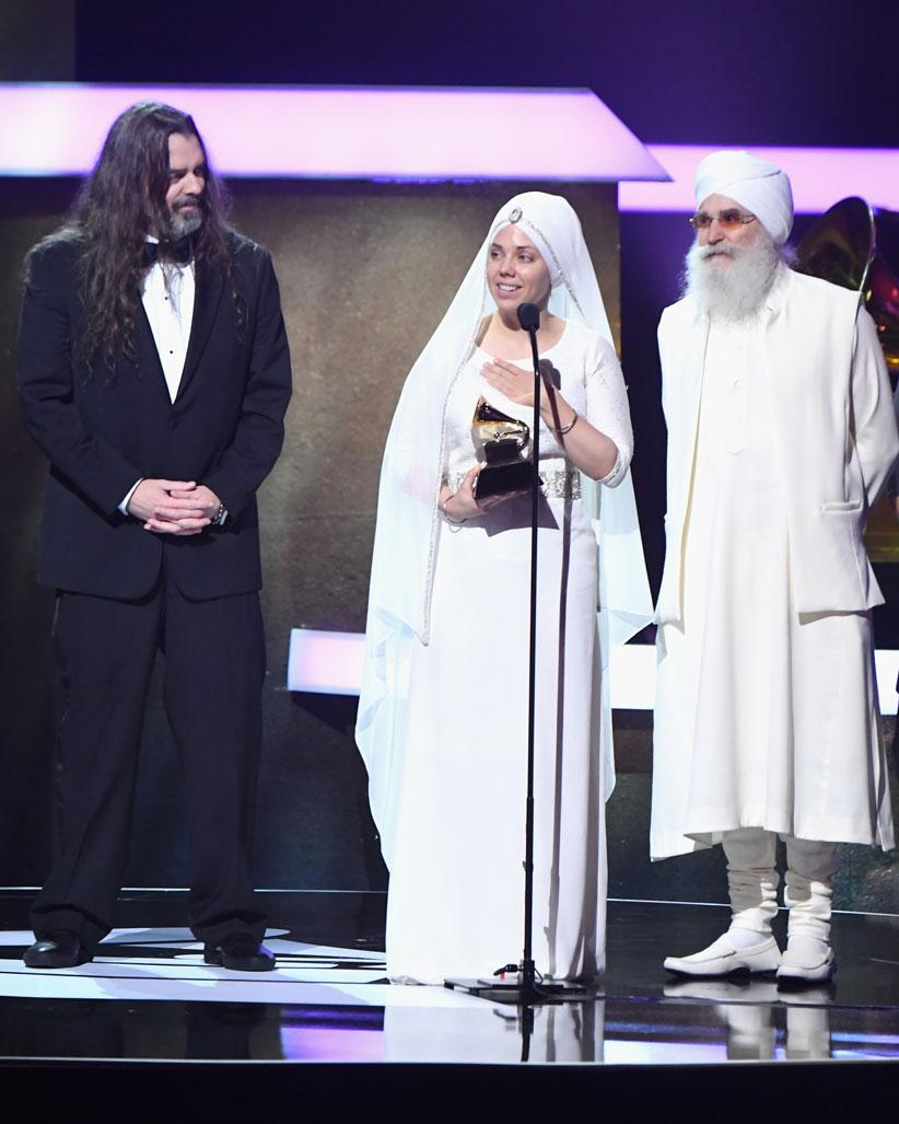 White Sun Accepting the 2017 New Age Album Grammy Award. Photo by Jeff Kravitz