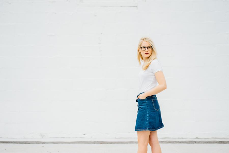 a short blonde