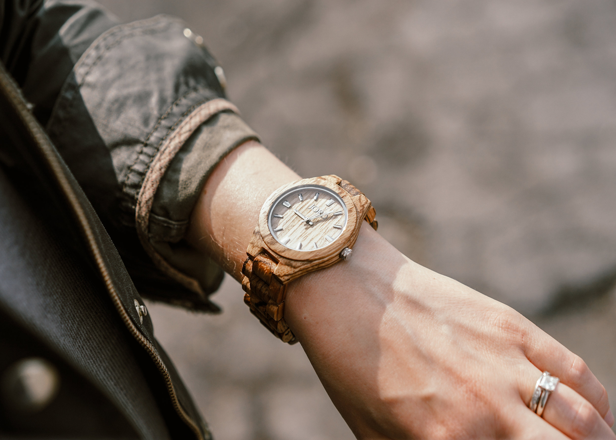 JORD zebrawood and maple wood watch