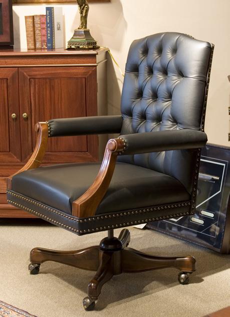 CH6369 - Gainsborough Leather Swivel Arm Chair