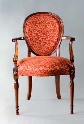 CH129A - Carved Hepplewhite Arm Chair