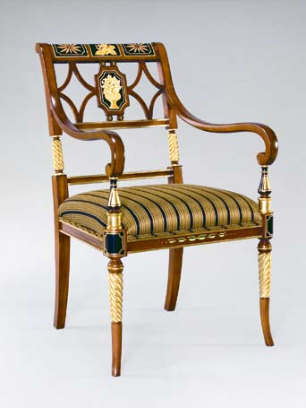 CH6680 - Regency Style Hand Painted Arm Chair