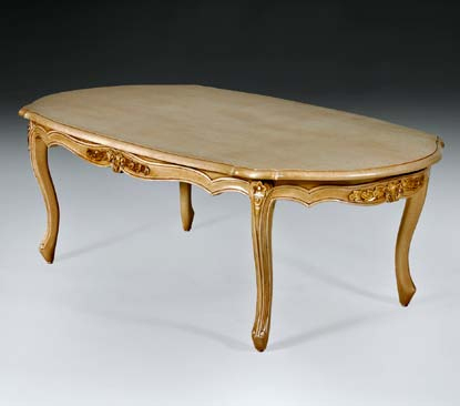 TA1028OCT - Carved Louis XV Oval Cocktail Table
