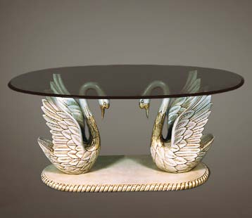 TA2021 - Empire Style Carved Swan Coffee Table