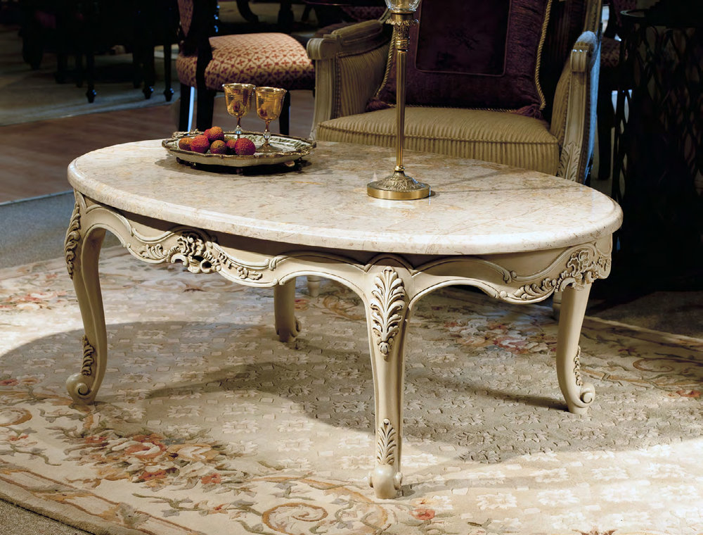 TA4205LCT - Louis XV Glass/Marble Top Cocktail Table