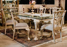 TA405G - Chippendale Style Glass Top Dining Table