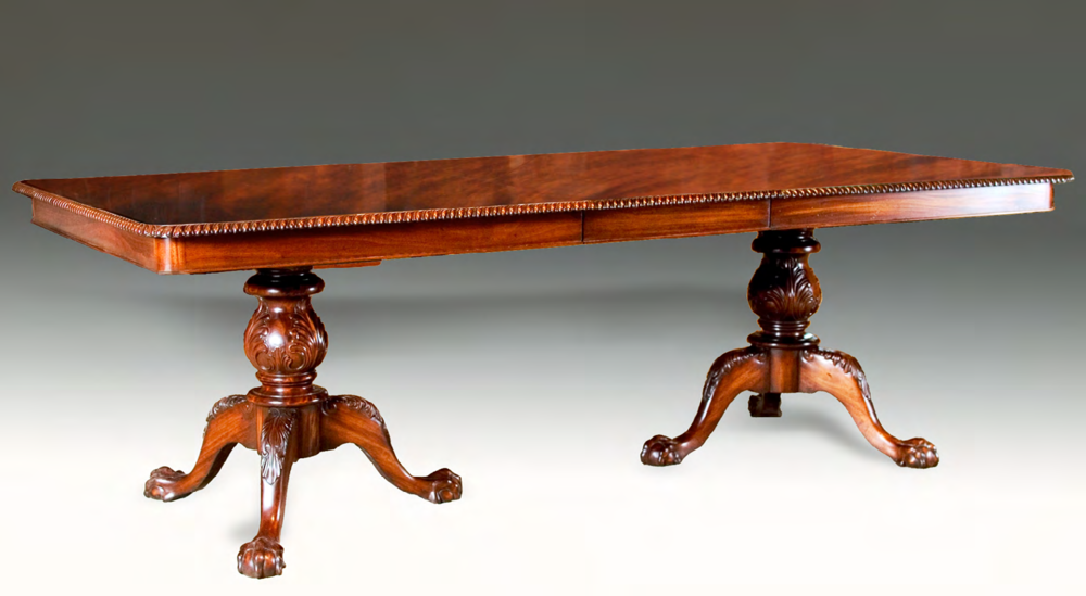 TA703 - Chippendale Pedestal Dining Table with Two Leaves