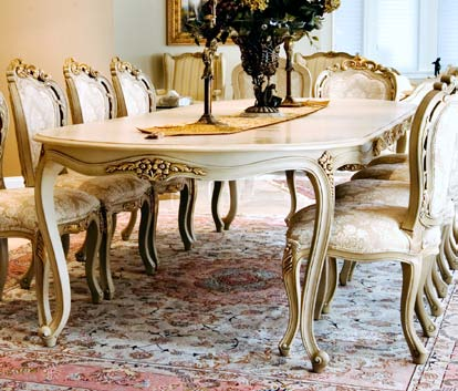 TA1023 - Louis XV Style Dining Table with Two Leaves