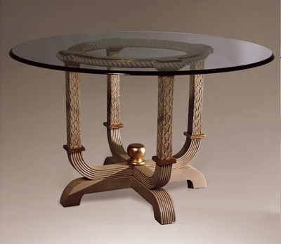 TA3177D - Carved Reed Dining Pedestal
