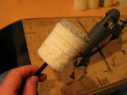 Step #12 - Quickly & carefuly apply the grey foam end to the hot glue, make sure everything lines up.