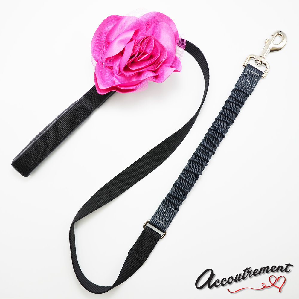 accoutrement.store flower attachment - suede & glitter - hot pink - on leash.jpg